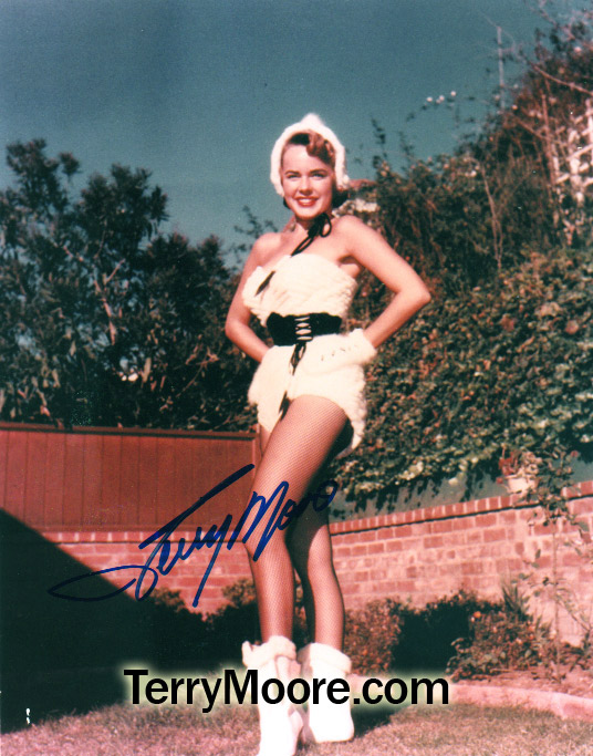 Terry Moore\'s famous ermine swimsuit and fishnet stockings caused an uproar when she wore it during a USO tour in Korea in 1953.